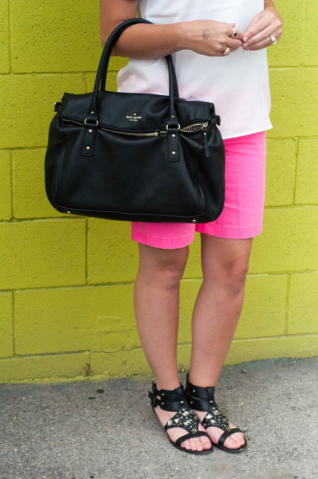 sam edelman, gladiator sandals, kate spade handbag, jcrew, ootd, bermuda shorts
