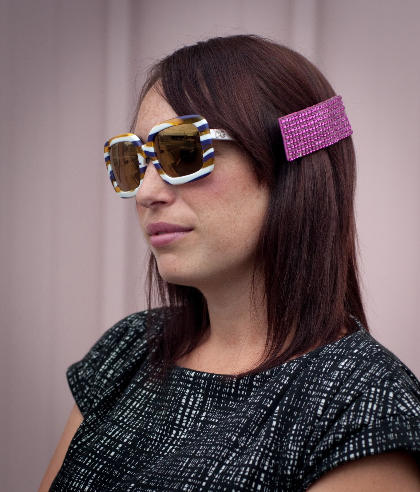 dolce and gabbana sunglasses, ootd, unique sunglasses, calvin klein dress, hair clip,