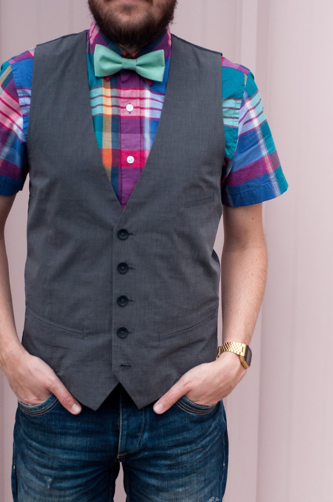 kelsey bang bow tie, mens fashion, mens style, mens ootd, zara, jcrew, plaid