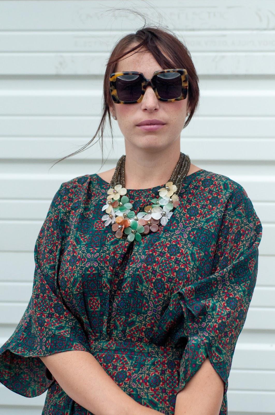 anthropologie dress, anthropologie ootd, ootd, what i wore, floral necklace, karen walker betsy sunglasses, karen walker