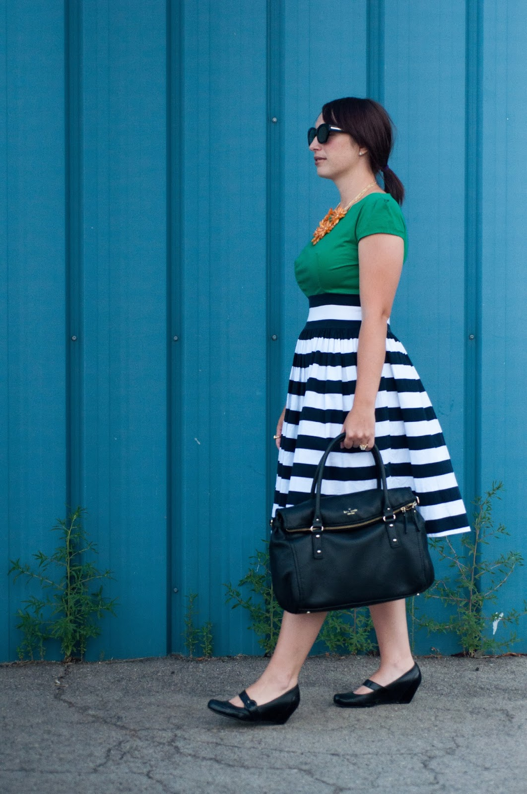 shabby apple gondola dress, shabby apple dress, stripe dress, kate spade handbag, karen walker sunglasses, ootd