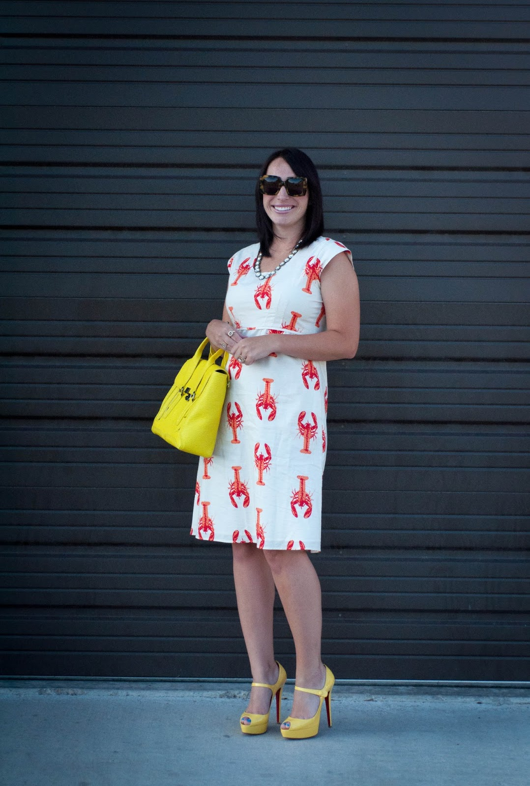ootd, karen walker sunglasses, karen walker betsy, 3.1 phillip lim pashli satchel, lobster dress, red soles