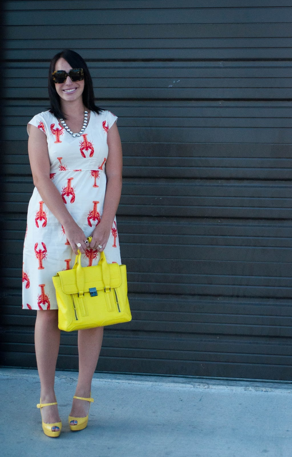 ootd, jcrew necklace, 3.1 phillip lim pashli satchel, lobster dress, karen walker sunglasses, red soles