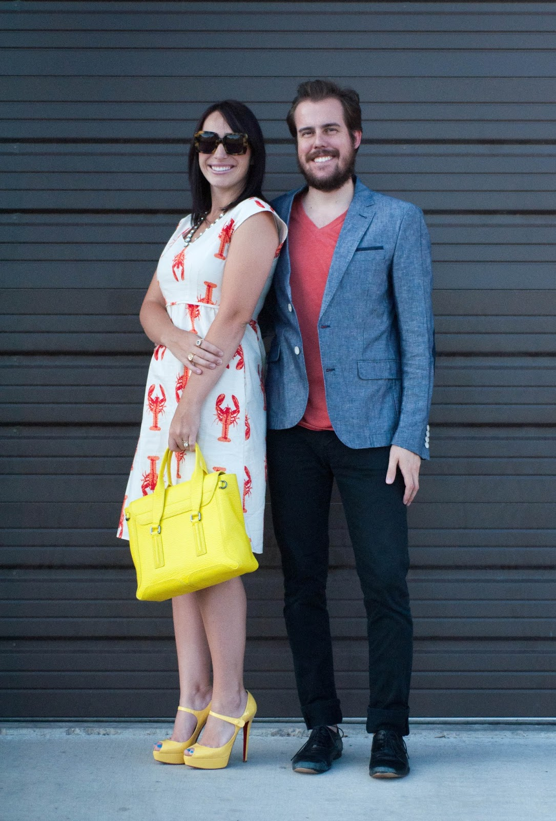 couples fashion, couples style, lobster dress, christian louboutin, red soles, zara man