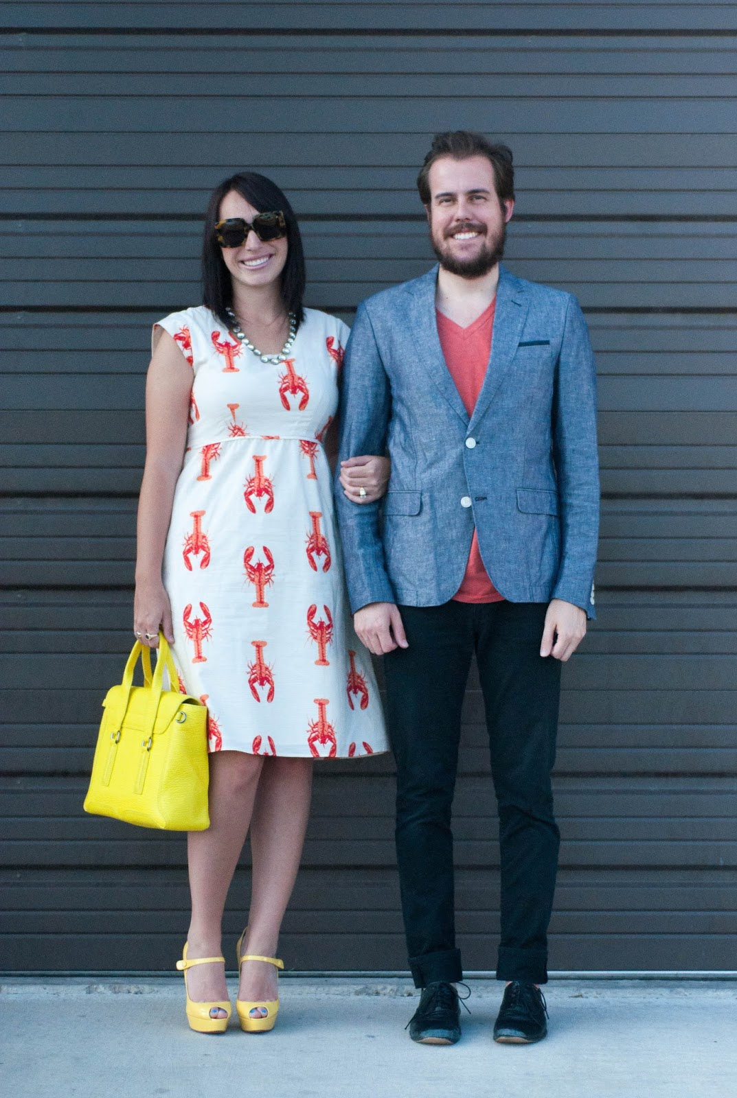 ootd, style blog, couples style blog, lobster dress, christian louboutin bana heels, 3.1 phillip lim pashli medium satchel, jcrew necklace