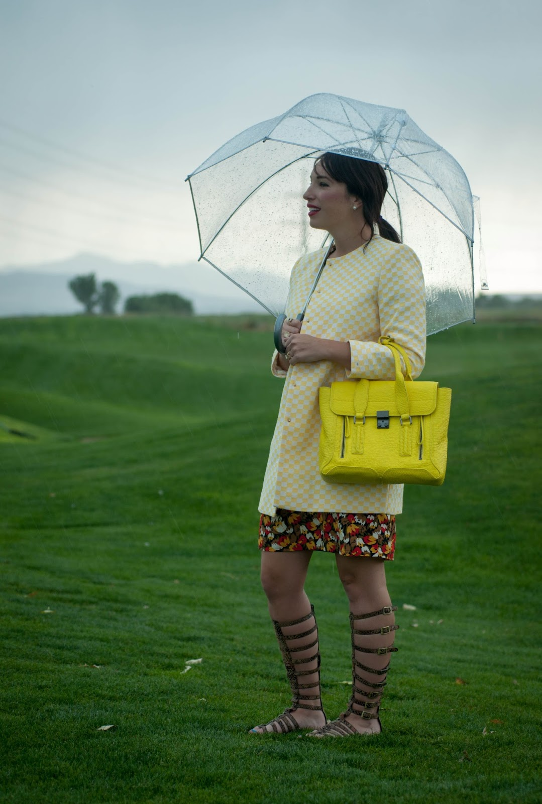 target umbrella, phillip lim pashli satchel, zara coat, gladiator sandals, floral dress, ootd