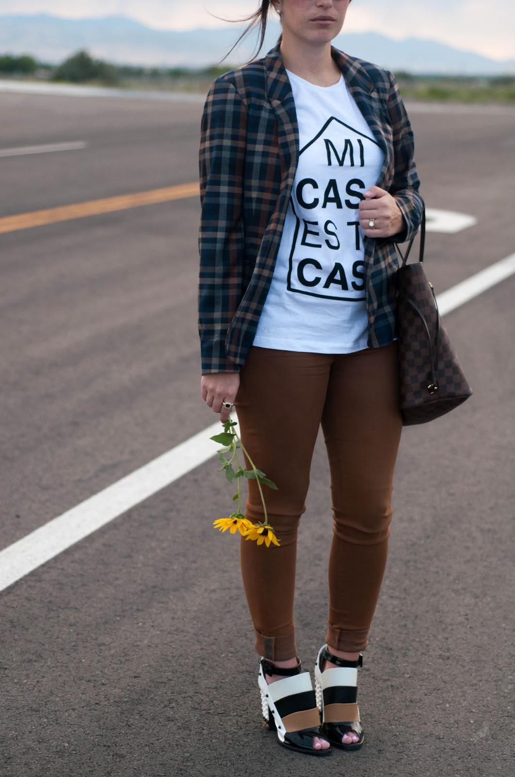 fashion blog, style blog, plaid blazer, graphic tee, fendi shoes, spike heels, fendi 2013 runway