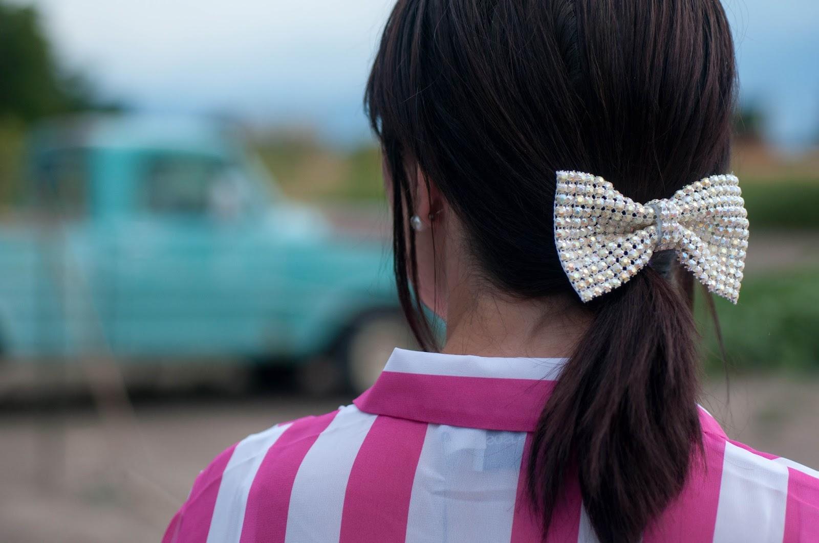 ootd details, rhinestone bow, hair clip, hair bow, vintage truck, candy stripe shirt, asos top