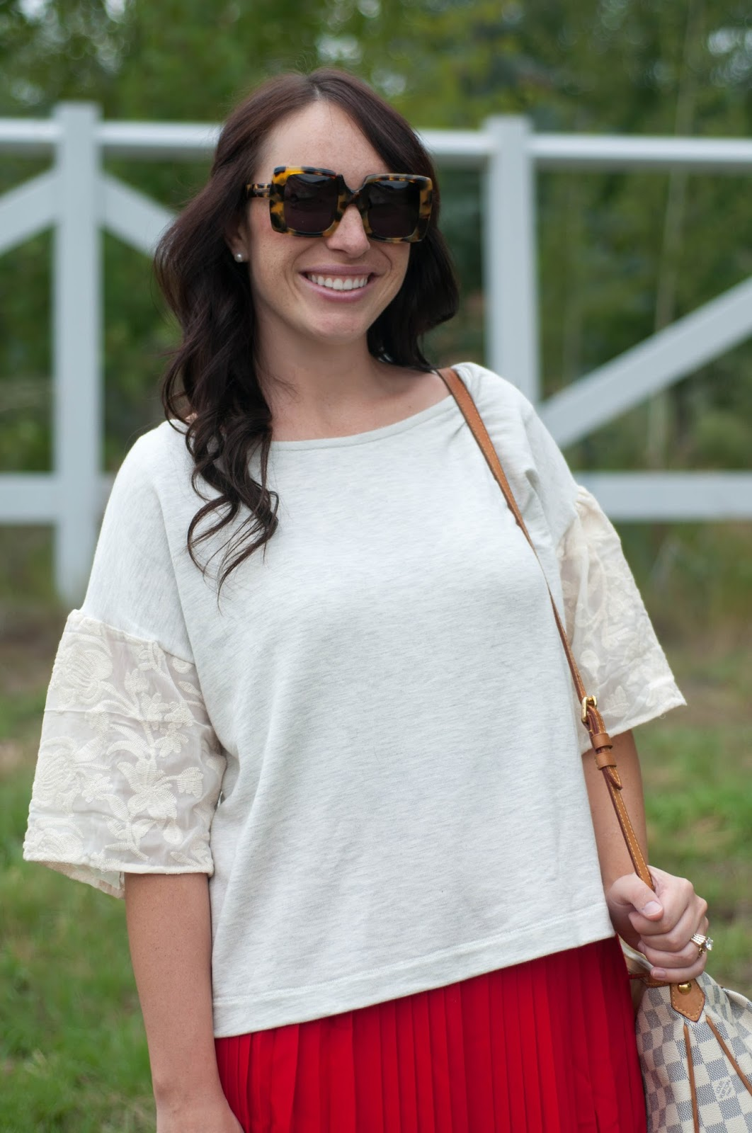 anthropologie top, anthropologie ootd, ootd, lace top, karen walker, karen walker sunglasses, louis vuitton handbag