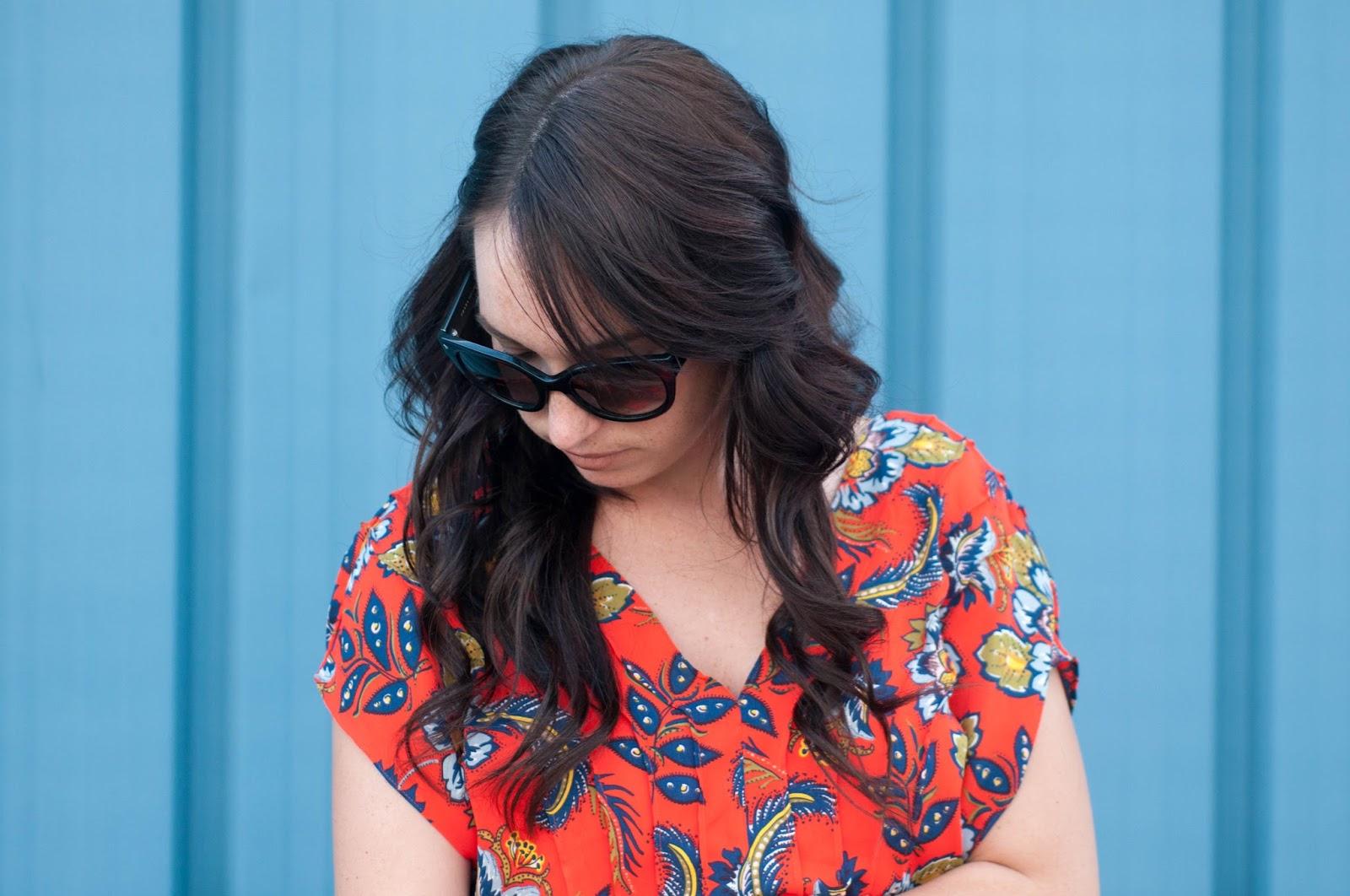 curly hair, paisley print, ootd, prada cat eye sunglasses, prada sunglasses, lands end dress