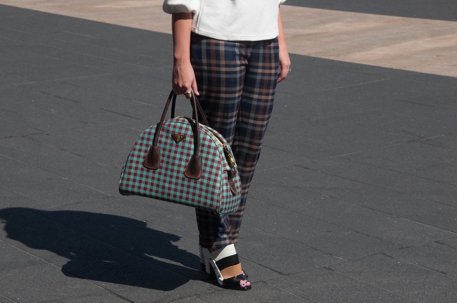 plaid pants, asos check pants, prada bowling bag, prada gingham, fendi booties, fendi spiked heels, ootd