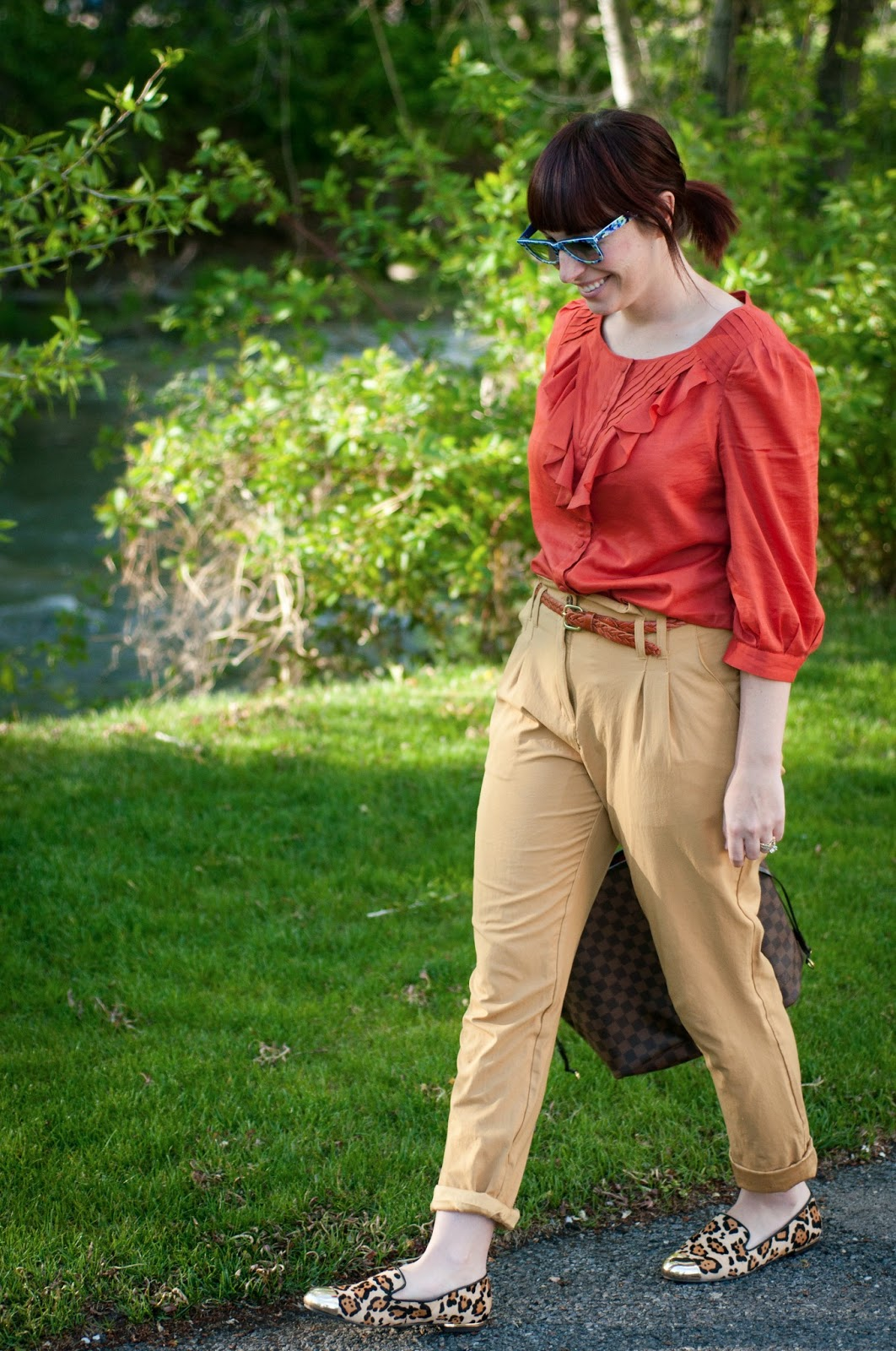 fashion blog, fashion blogger, style blog, style blogger, mens fashion, mens fashion blog, mens style, mens style blog, womens style blog, anthropologie ootd blog, anthropologie ootd, anthropologie, ootd, mens ootd, womens ootd, maeve, maeve blouse, maeve at anthropologie, high waisted pants, braided belt, oxfords, cheetah shoes, two tone shoes, cheetah flats, steven by steve madden, steve madden shoes, crocodile belt, topman slacks, topman, h and m, checkered shirt, louis vuitton, floral rayban, rayban, orange, burnt orange, yellow