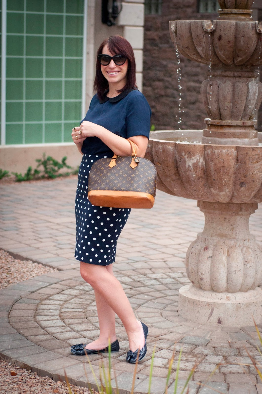 target style, prada sunglasses, blow flats, ootd, style blog, fashion blog, polka dot skirt, louis vuitton top handle bag