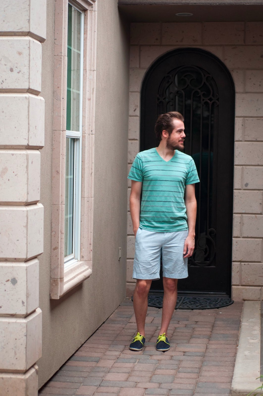 "mens style blog, mens fashion blog, neon laces, navy tennis shoes, zara shoes, jcrew 9"" stanton shorts, stripe shirt, mint"