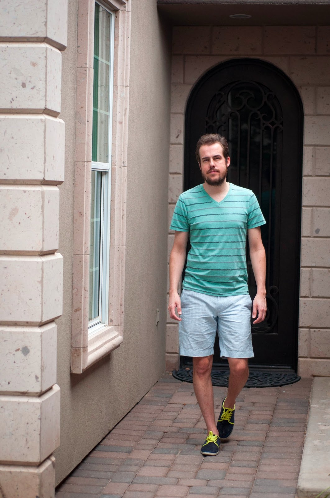 "mens style, mens fashion, zara shoes, jcrew 9"" stanton shorts, jcrew, vneck, bright shoes, stripes"