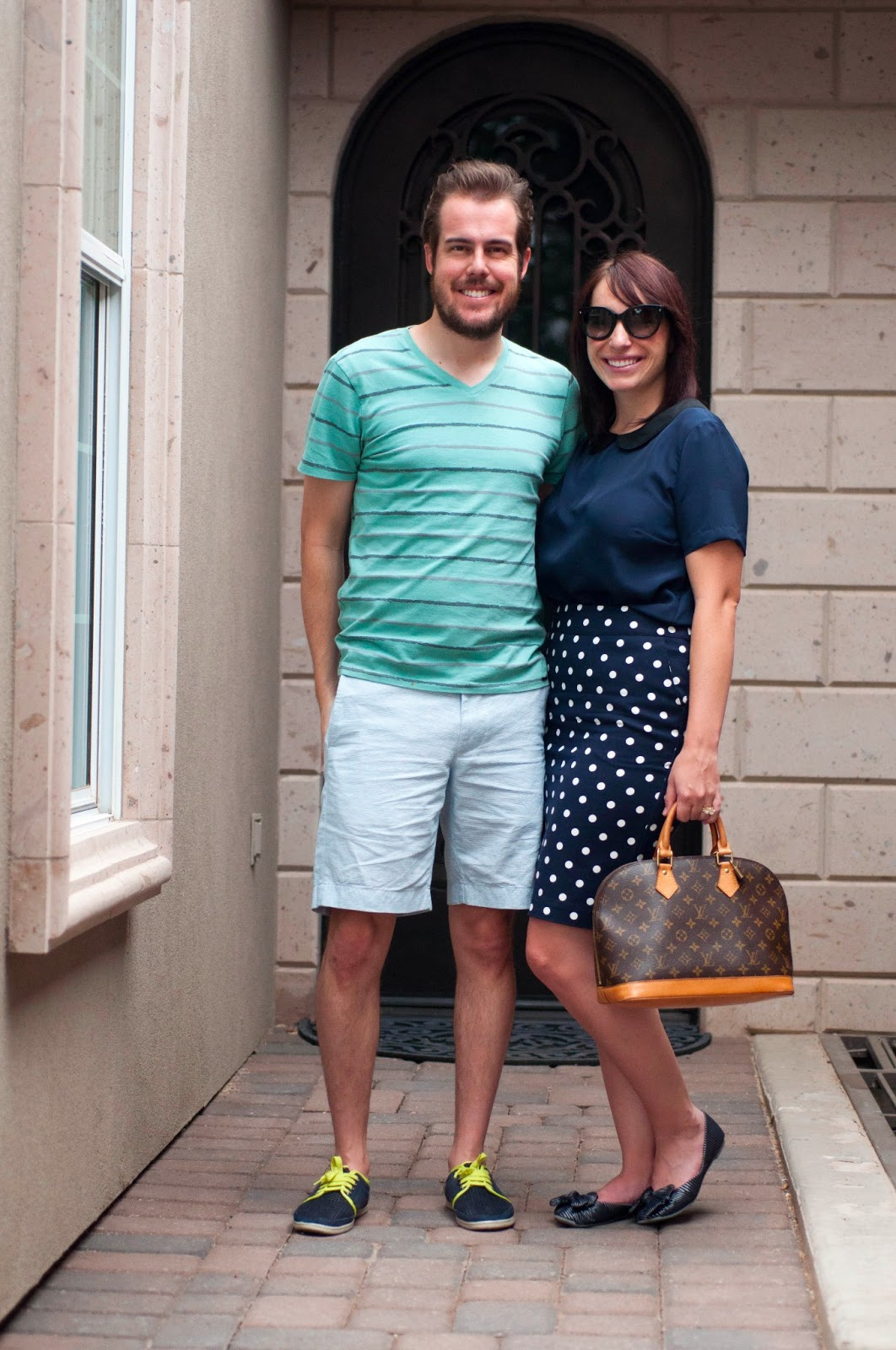 "couples fashion, couples fashion blog, couples style, mint, navy and white, bow flats, jcrew 9""stanton shorts, peter pan collar"