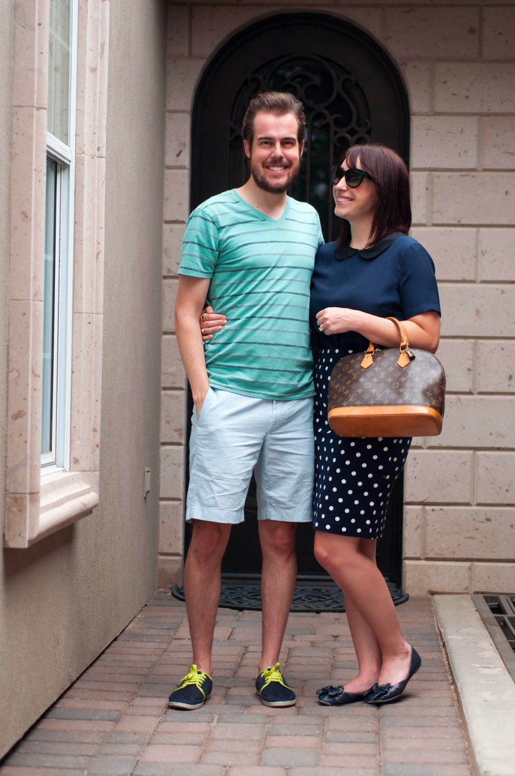 "couples style, couples fashion, polka dots, navy and white, bow flats, jcrew 9"" stanton short, couples fashion blog,"
