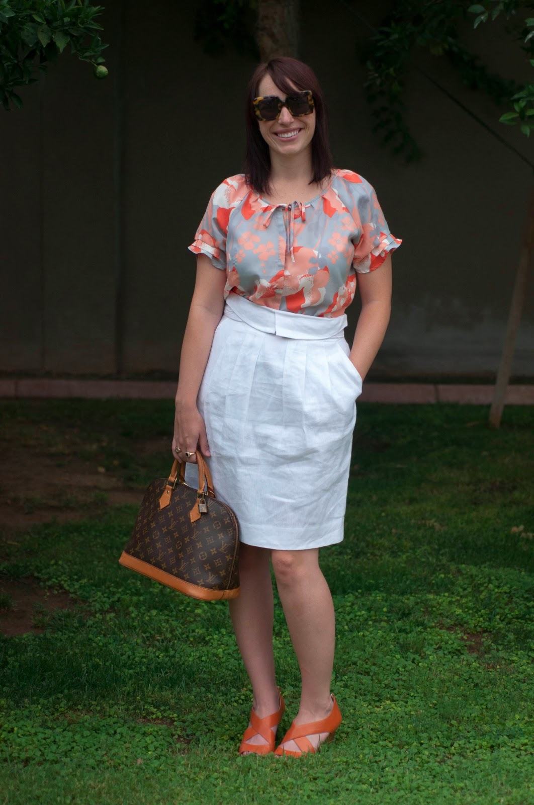 style blog, fashion blog, louis vuitton, bcbg skirt, orange shoes, banana republic, floral top, banana republic silk blouse