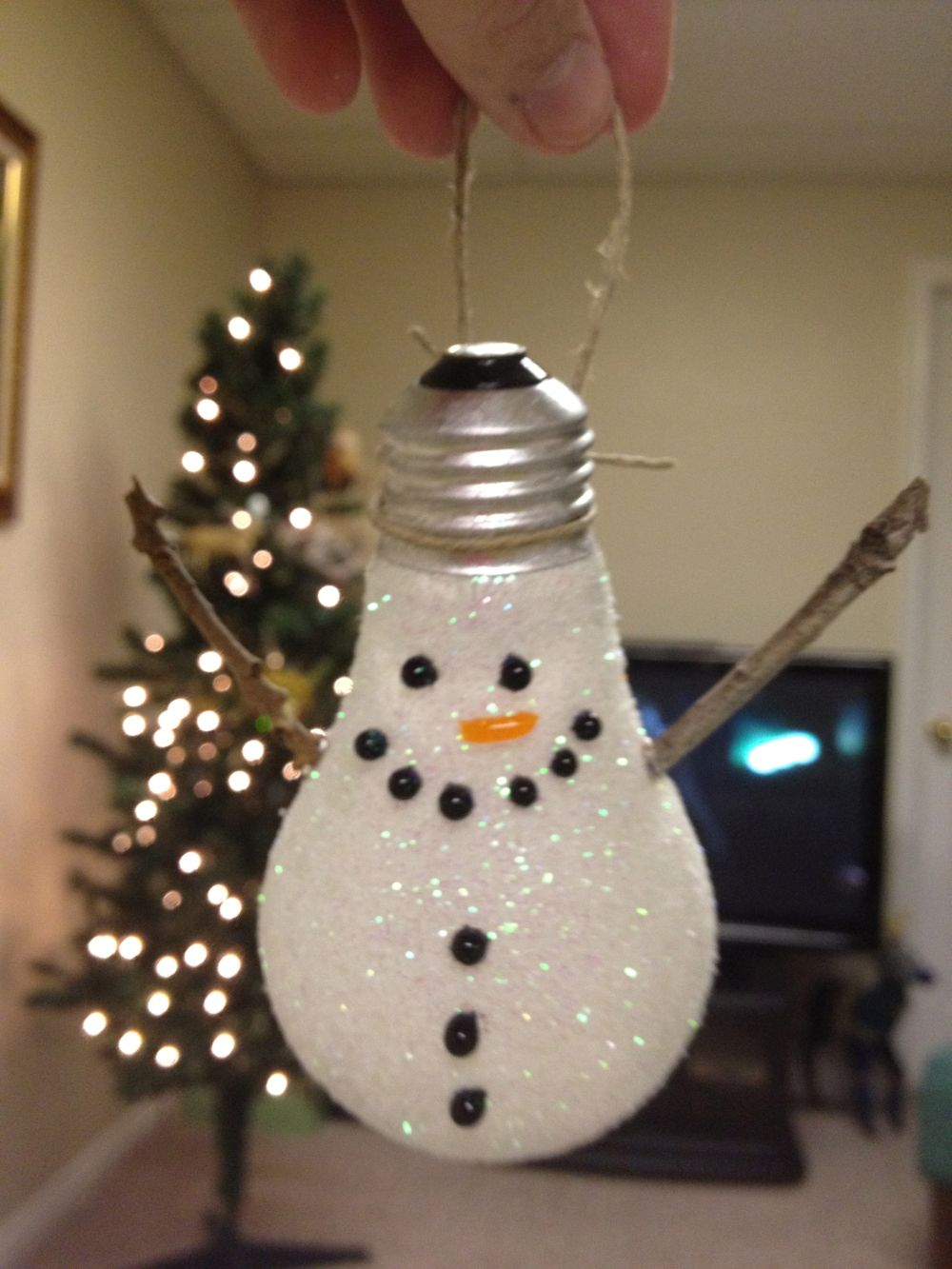 Light bulb ornaments - Here Was A Funny Fish Ornament I Made And A Lightbulb Snowman