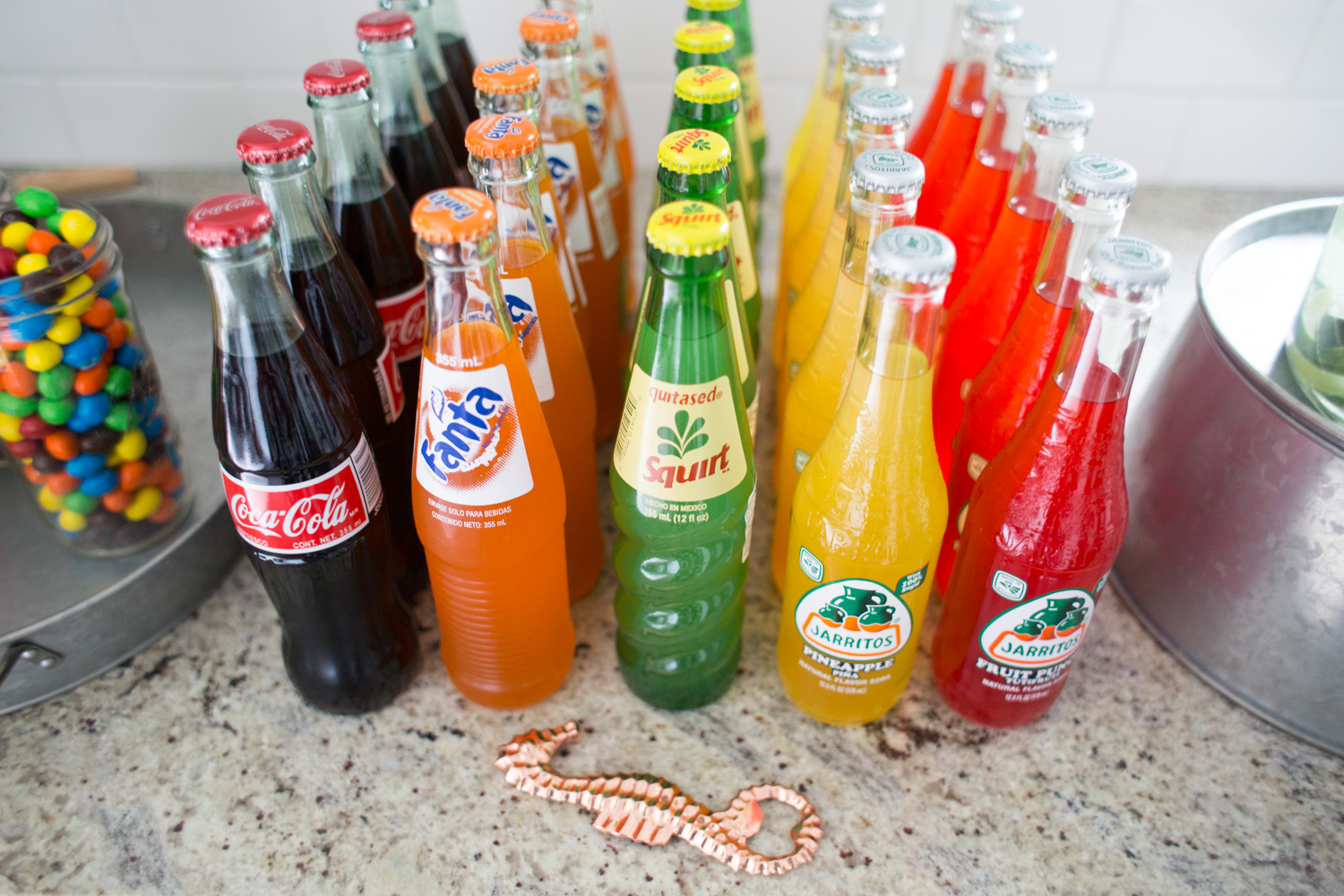Fiesta Drink Spread in cute Glass Bottles