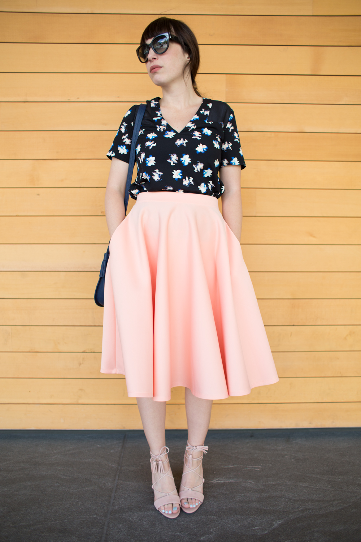 Asos peach scuba skirt style