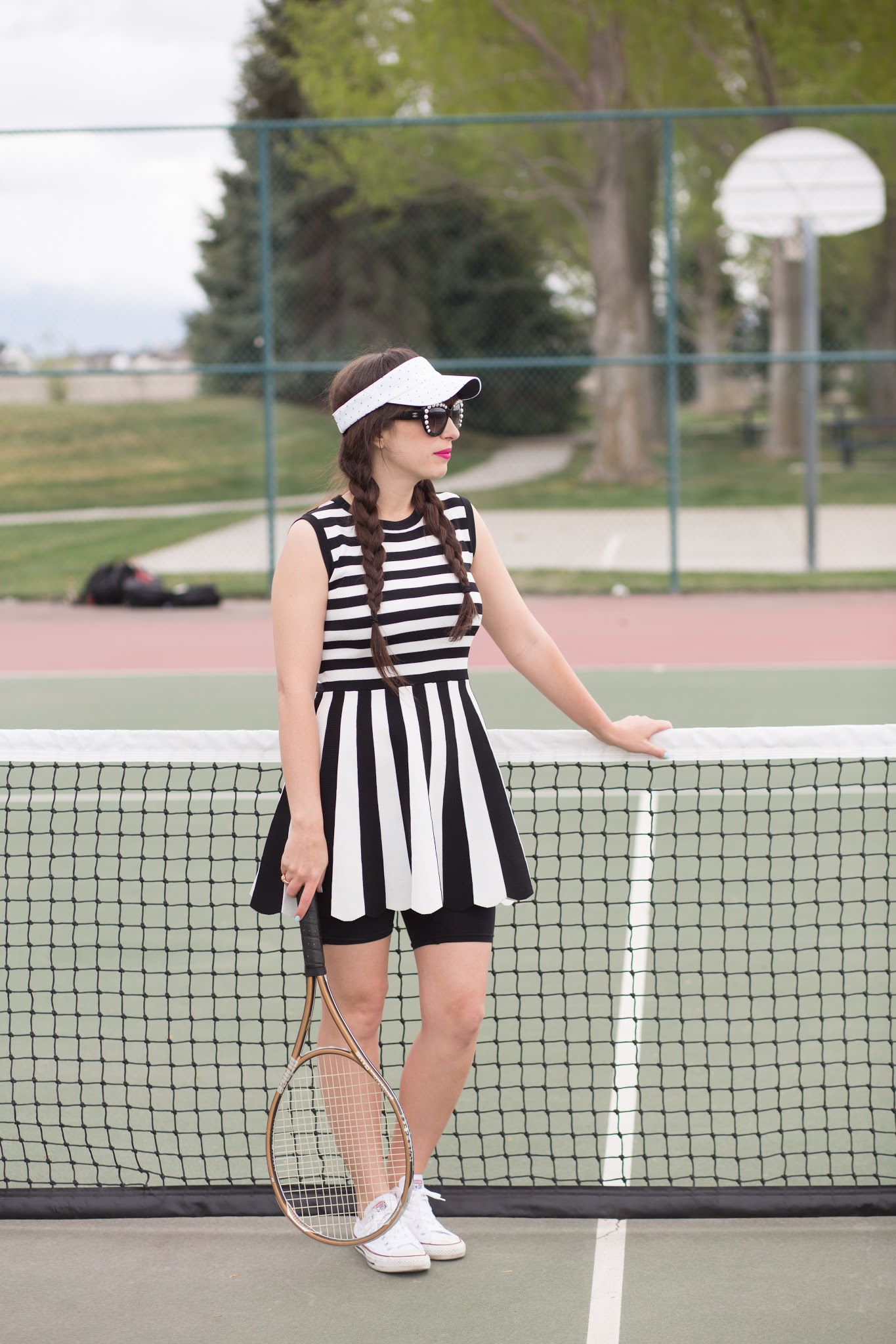 black and white tennis dress