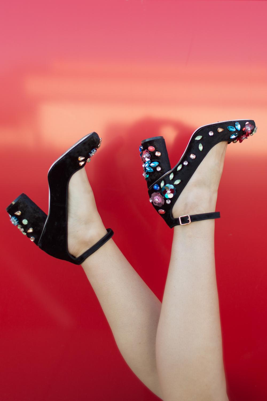 Asos velvet bejeweled heels