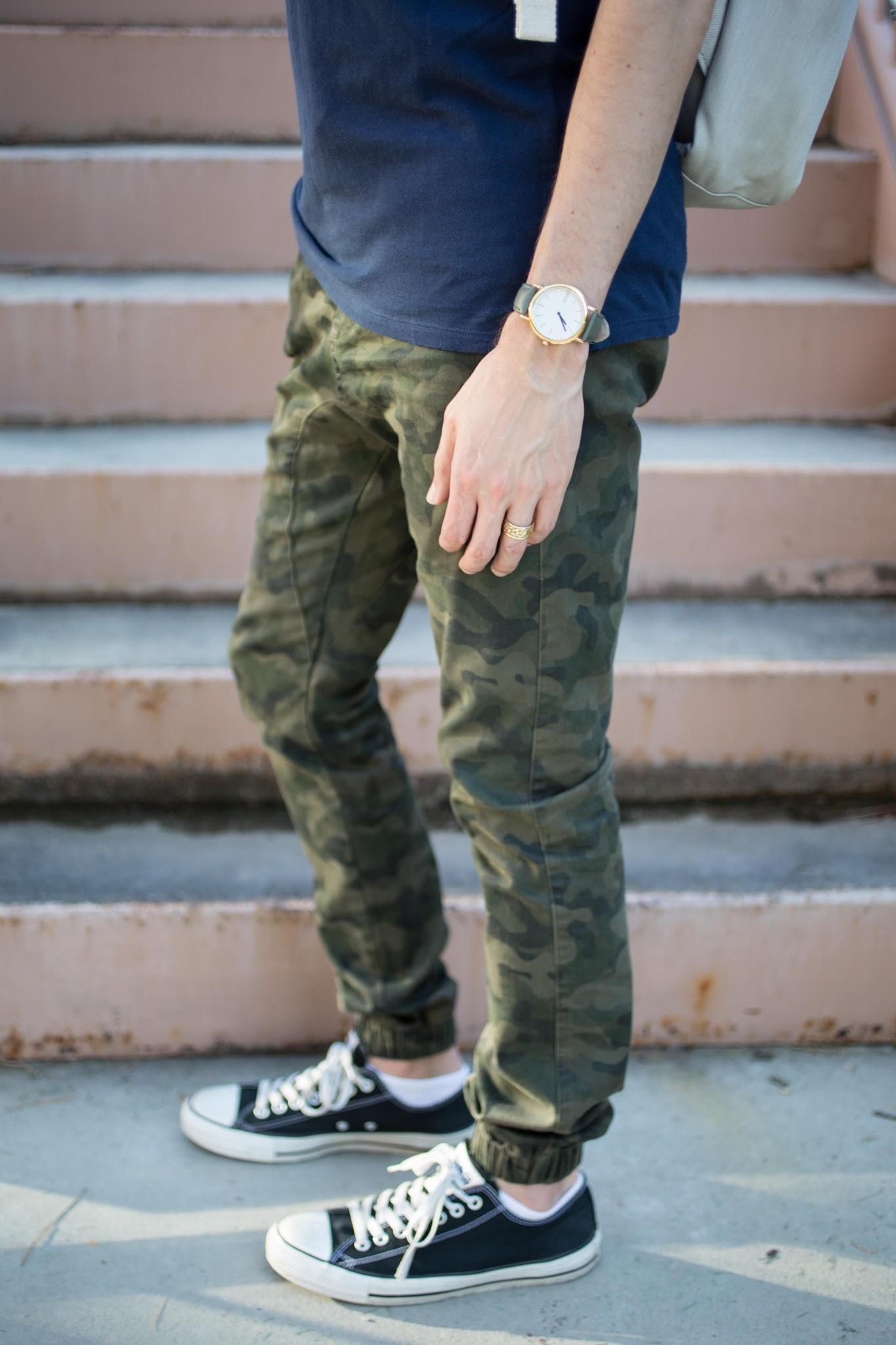 Khaki Jeans Blue Shoes