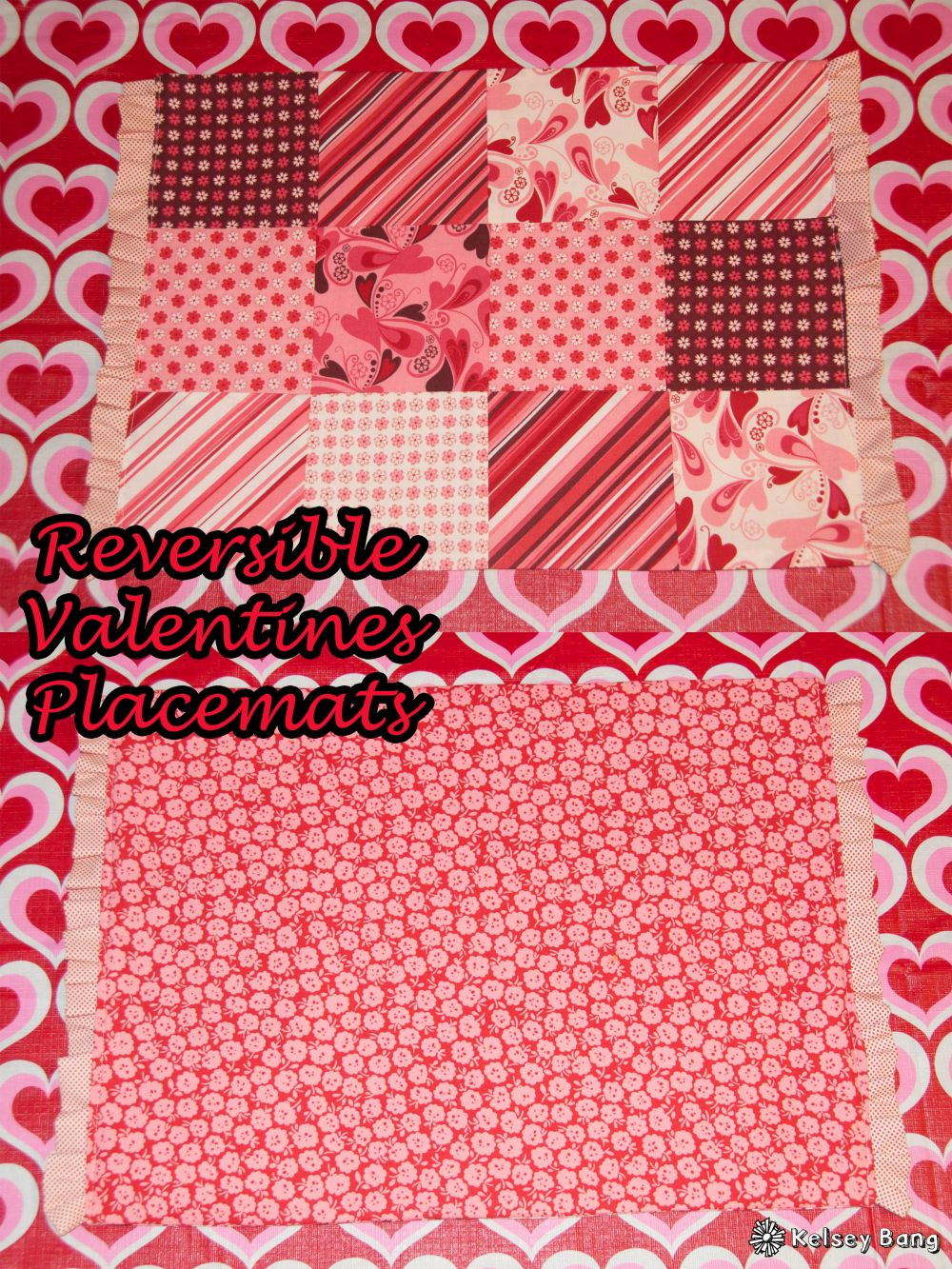 easy reversible VALENTINES placemats | Kelsey Bang