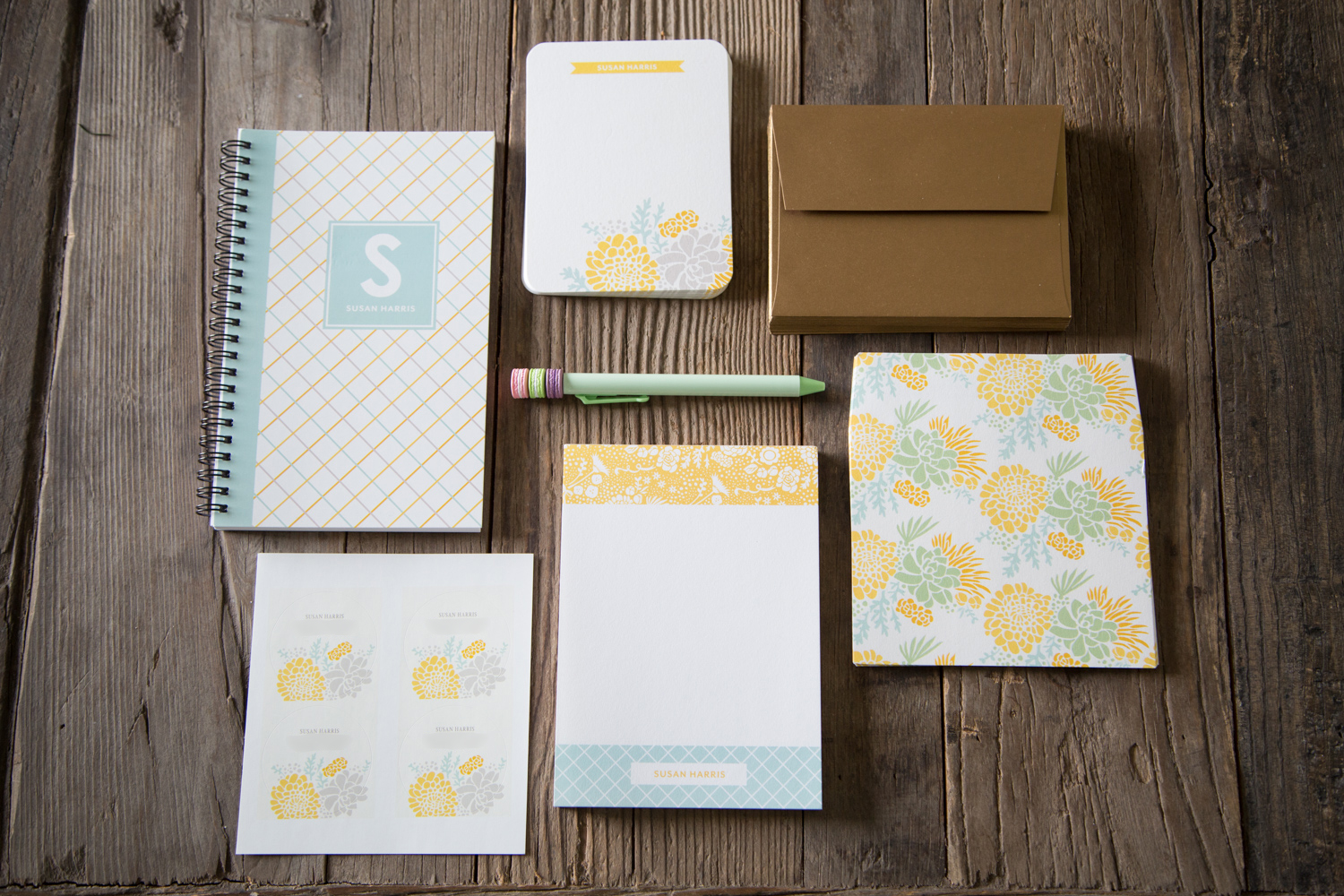 Personalized Stationary Set from Tiny Prints
