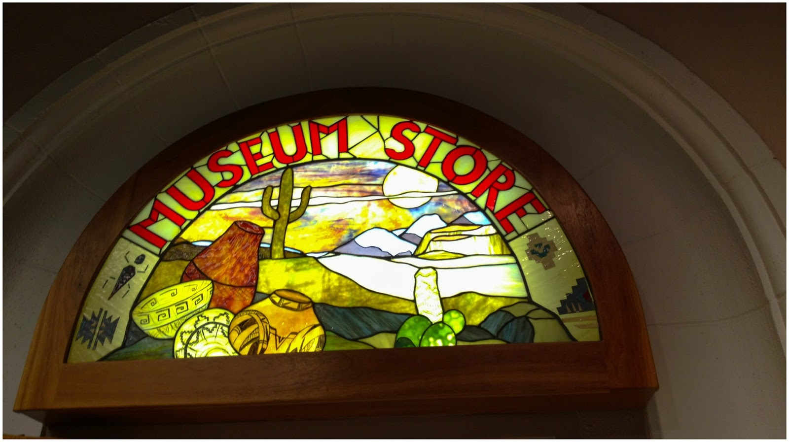 glass art, cactus, Arizona natural history museum,