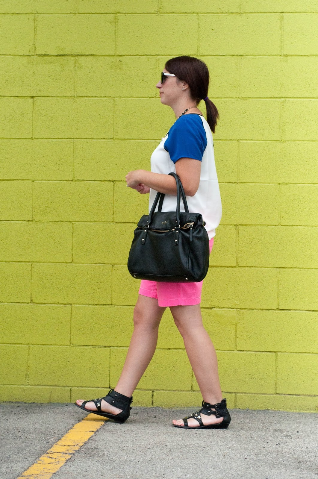 jcrew bermuda shorts, sam edelman, ootd, kate spade handbag, sunday somewhere sunglasses