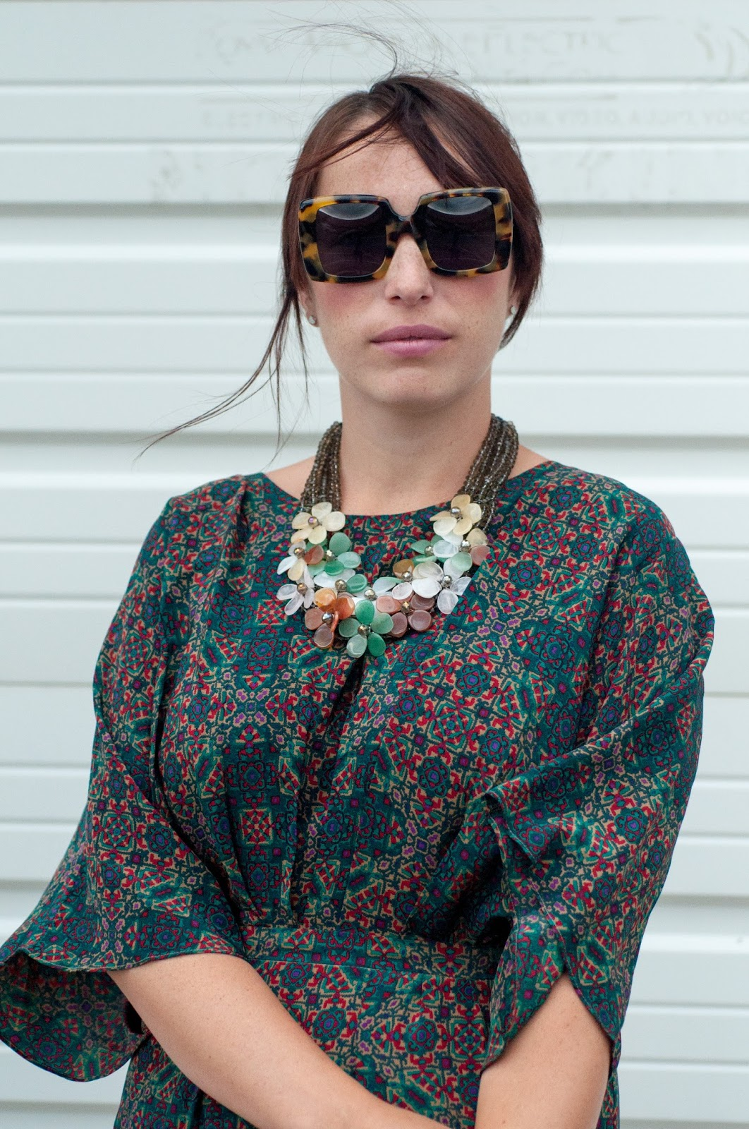 anthropologie dress, anthropologie ootd, ootd, what i wore, floral necklace, karen walker betsy sunglasses, karen walker