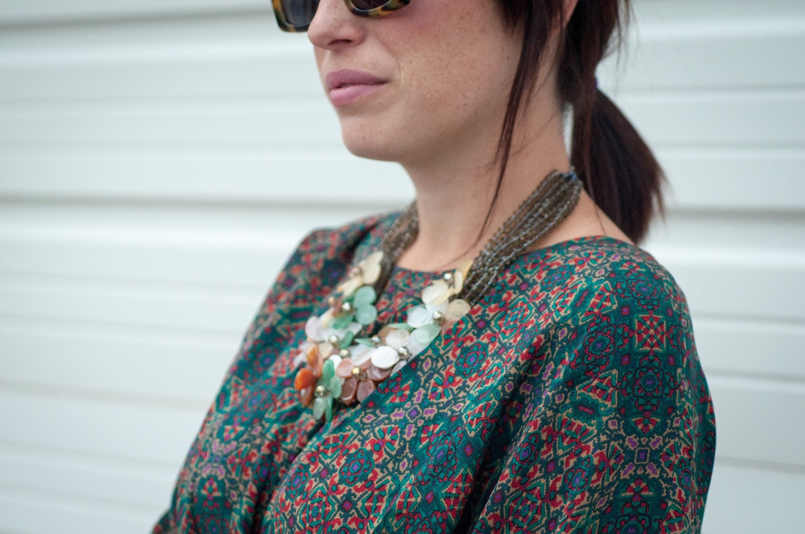 ootd, anthropologie ootd, floral necklace, karen walker sunglasses, karen walker, what i wore
