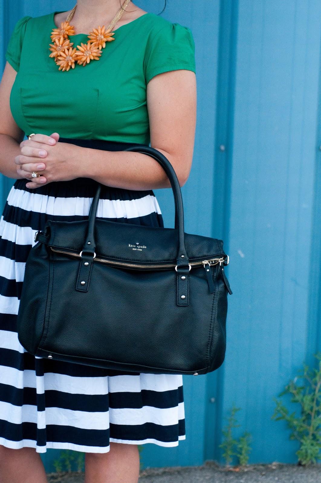 shabby apple gondola dress, shabby apple, kate spade cobble hill handbag, stripe dress, ootd