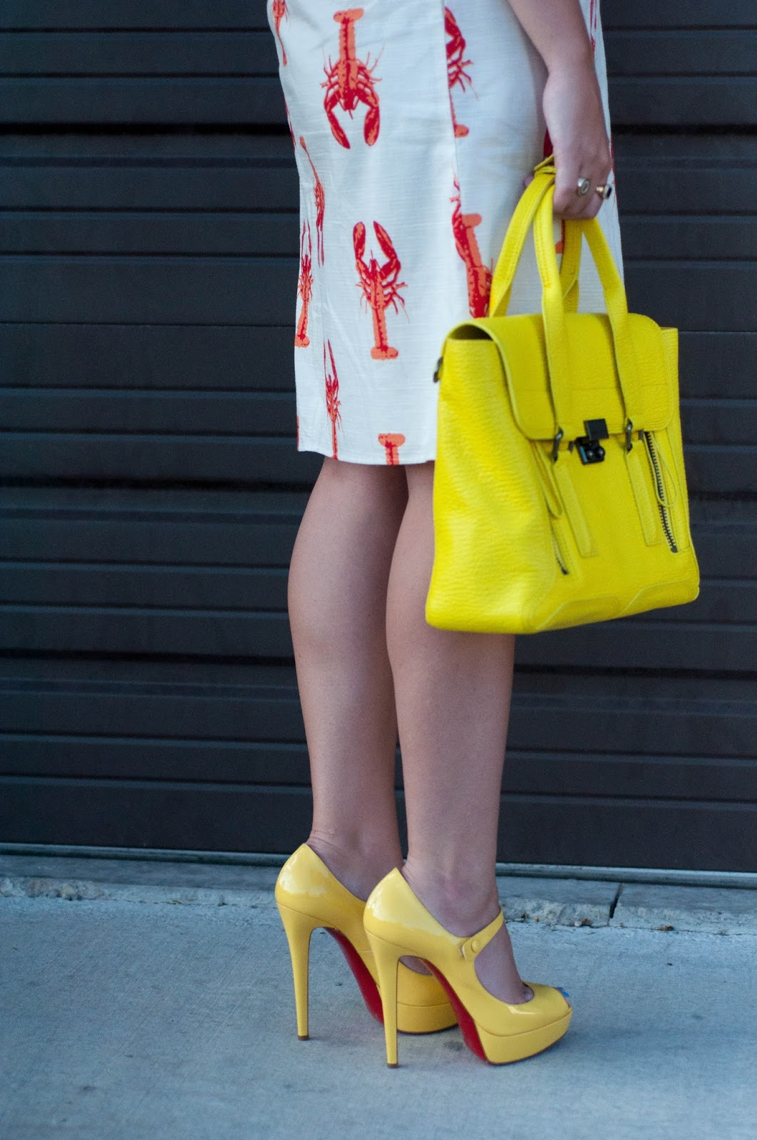 christian louboutin, red soles, christian louboutin bana, yellow christian louboutins, 3.1 phillip lim pashli satchel, ootd