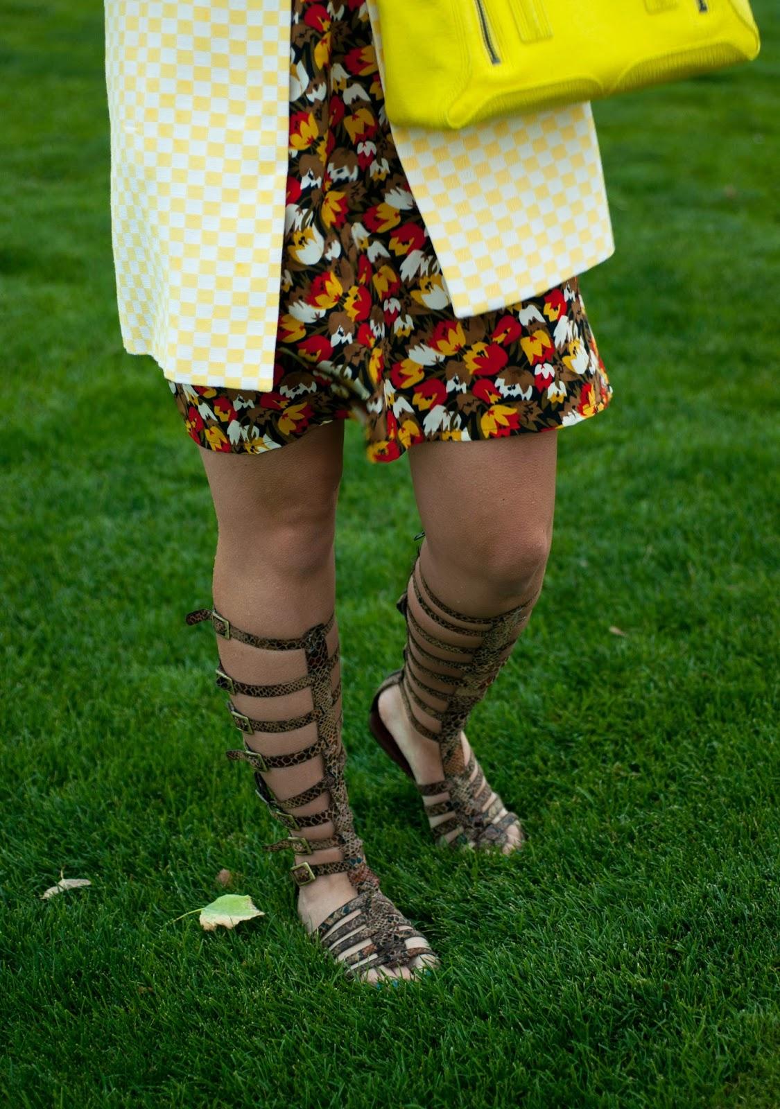 karen walker dress, ootd, zara jacket, gladiator sandals, jeffrey campbell gladiator sandals, floral dress