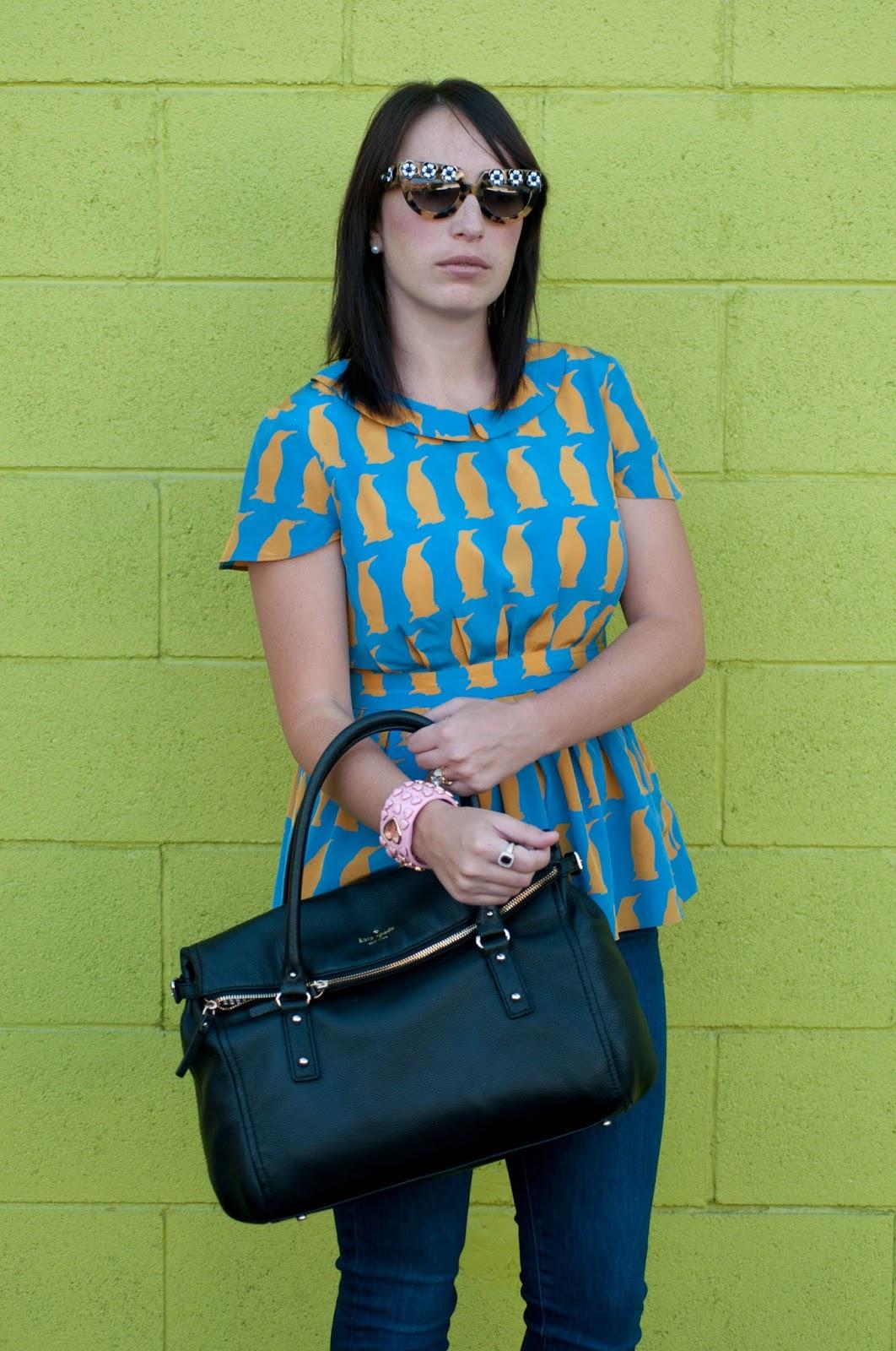 ootd, fashion blog, style blog, charlotte taylor penguin chiffon blouse, prada flower sunglasses, kate spade cobble hill
