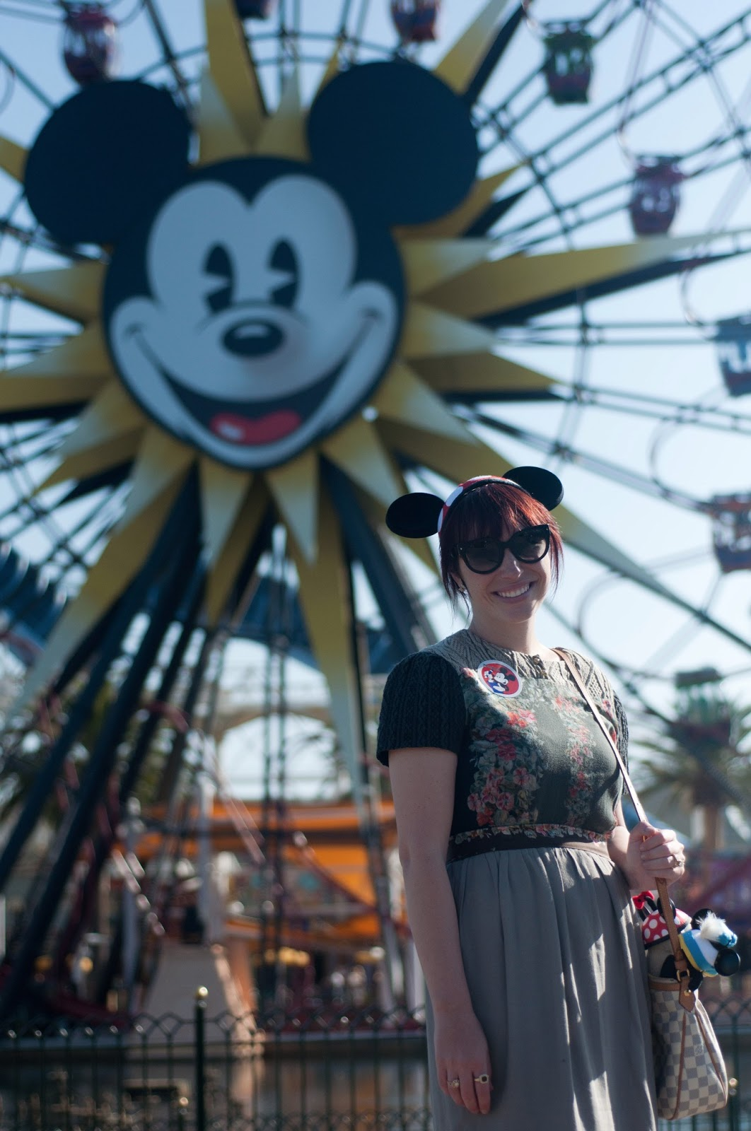 disney, disneyland, california adventure, bugs land, cars land, a bugs life, cars, flick, disney apparel, disney blog, fashion blog, style blog, ootd, mens style, womens style, california adventure ferris wheel, pixar parade, toystory, pixar, mickey mouse, anthropologie dress, prada cat eye sunglasses, minnie mouse ears,