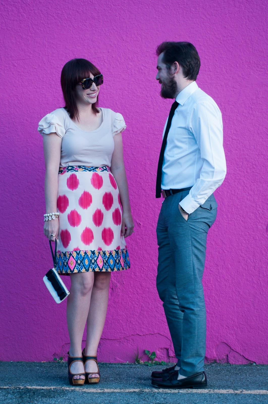 style blog, ootd blog, ootd, fashion blog, fashion blogger, mens style, mens style blog, mens ootd, jcrew ootd, anthropologie ootd, anthropologie, lucca couture, ruffled sleeves, slik sleeves, silk pencil skirt, ikat water color skirt, maeve, maeve skirt, maeve watercolor ikat skirt, sam edelman, sam edelman wedges, seychelles, seychelles down to the wire wedge, kate spade, kate spade bow clutch, kate spade new york, kate spade clutch, karen walker, karen walker sunglasses, karen walker betsy, nordstrom dress shirt, H and M, pattern dress slacks, allen edmonds maxfield loafer, express menswear, express, express 2 in 1 reversible belt, nixon gold watch, nixon re-run, jcrew, jcrew knit tie