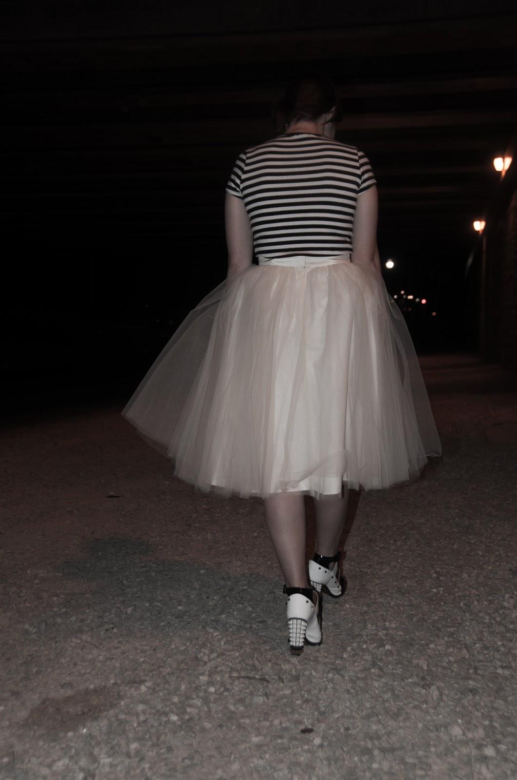 style blog, fashion blog, fashion blogger, womens fashion blog, ootd, anthropologie ootd, anthropologie style blog, forever 21, forever 21 top, alexandra grecco, alexandra grecco the gretta tulle skirt, tulle skirt, betsey johnson, cuff watch, betsey johnson accessories,  fendi, fendi runway, fendi shoes, fendi 2013 runway, fendi 2013 spring runway shoe, fendi open toe shoe boot, fendi spike bootie, fendi bootie, night photo shoot, night shoot, the gretta, new york designer clothing, designer clothing,