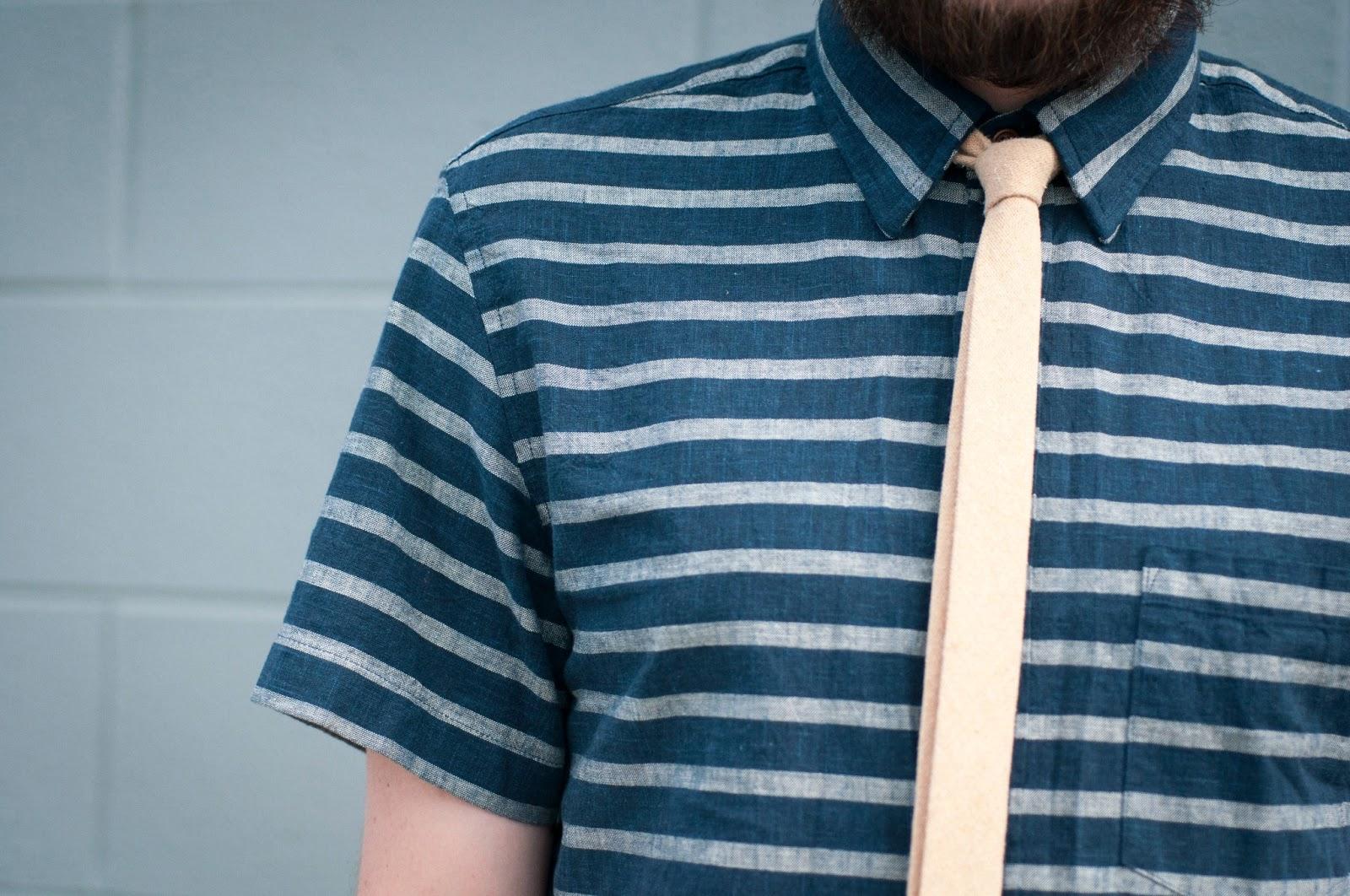 mens fashion blog, mens style blog, skinny tie, stripes, jcrew short sleeve short, jcrew, ootd