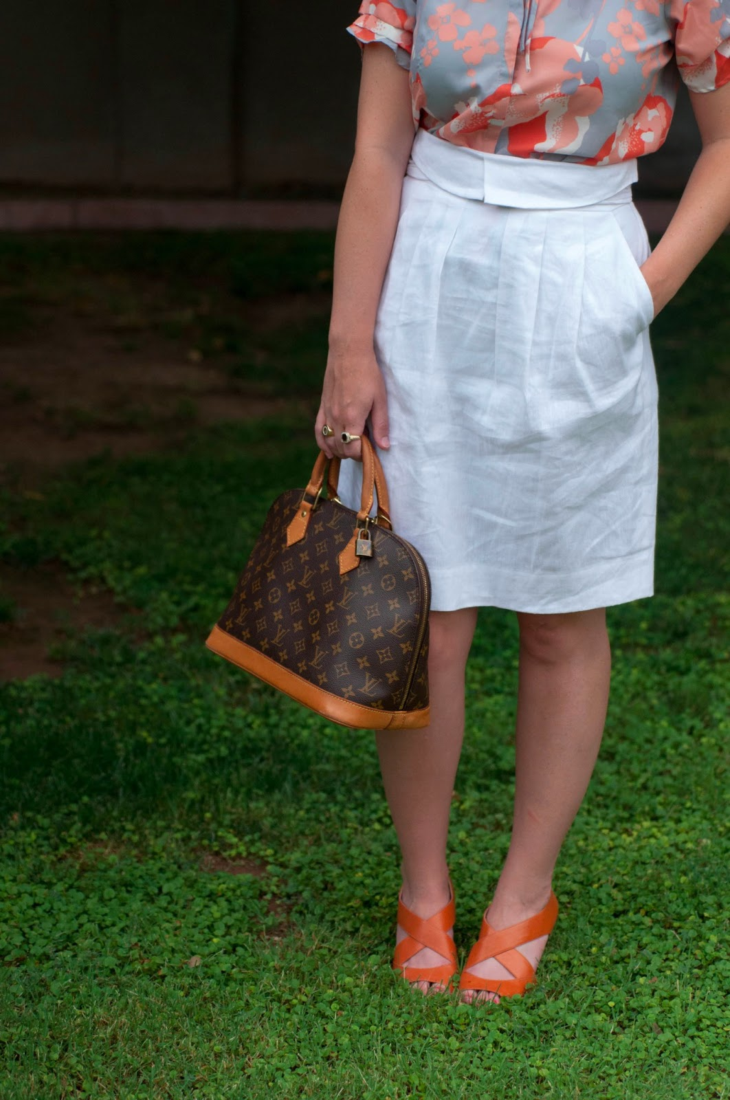 bcbg white skirt, louis vuitton alma classic monogram print, silk blouse, orange strappy shoes, louis vuitton bag, style blog