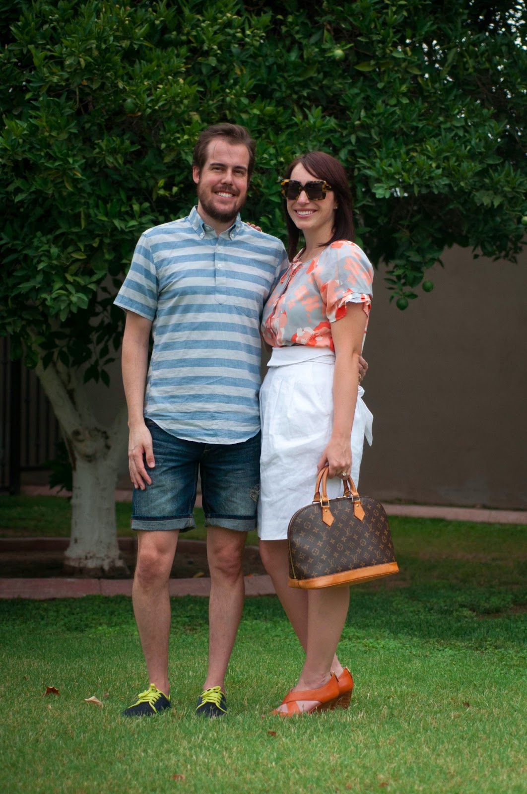 style blog, couples blog, fashion blog, ootd, bcbg skirt, karen walker betsy, jcrew short sleeve pop over in stripes, louis vuitton alma classic monogram