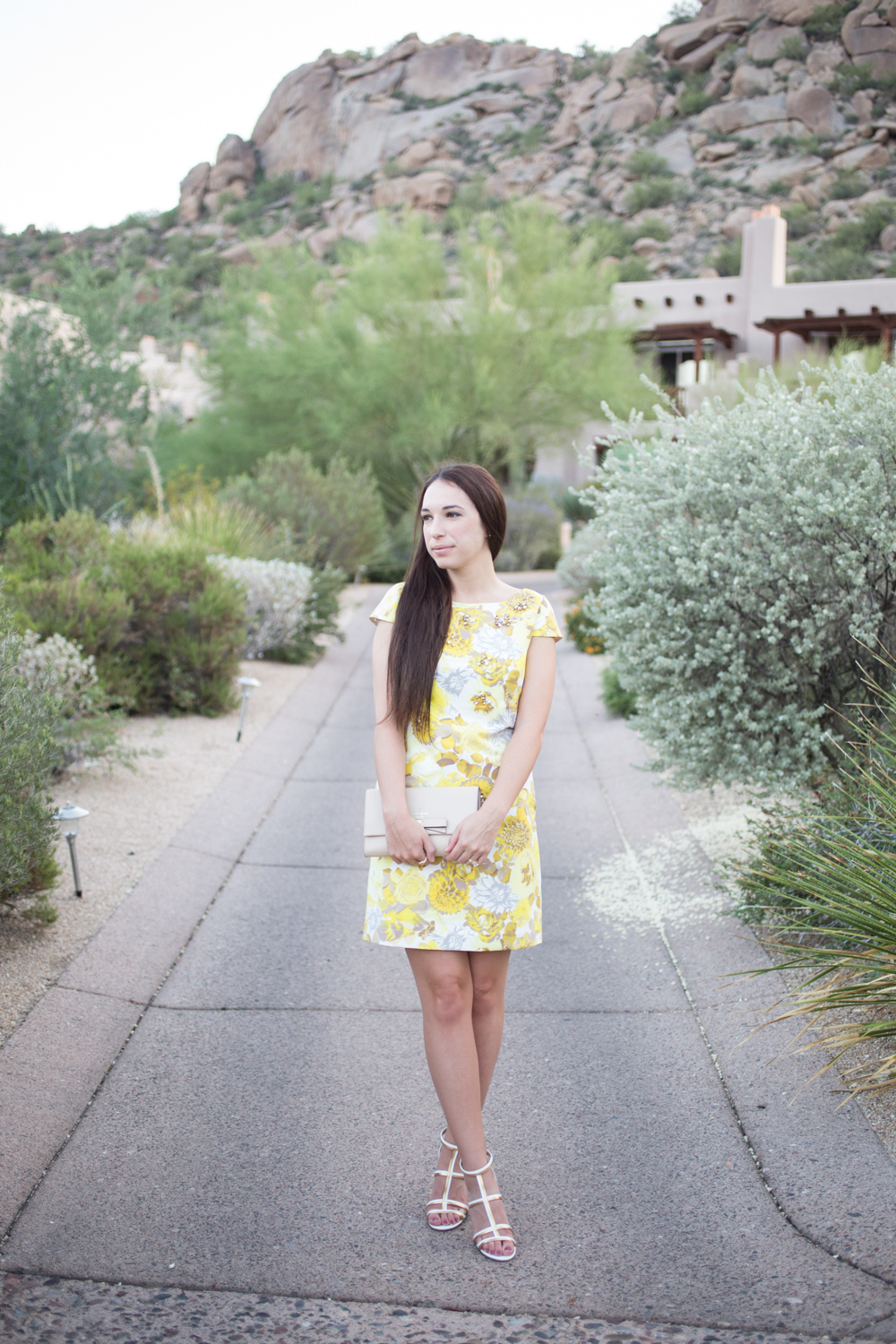 Eliza J Dresses Yellow Floral Shift Dress with Jewels Review