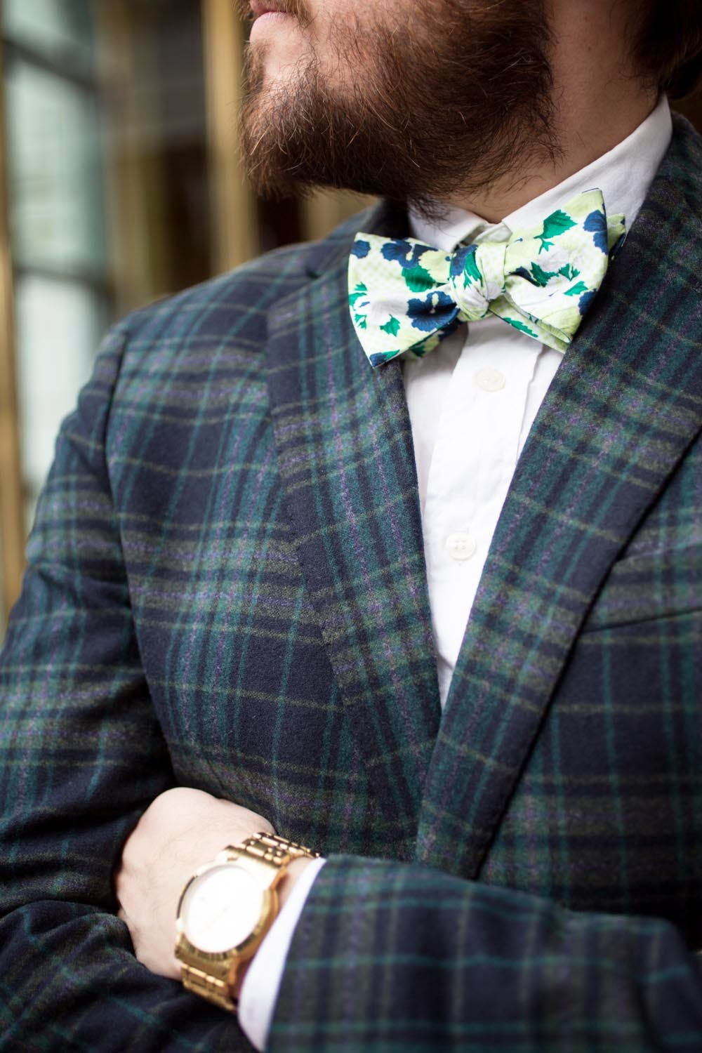 floral bow tie and plaid blazer