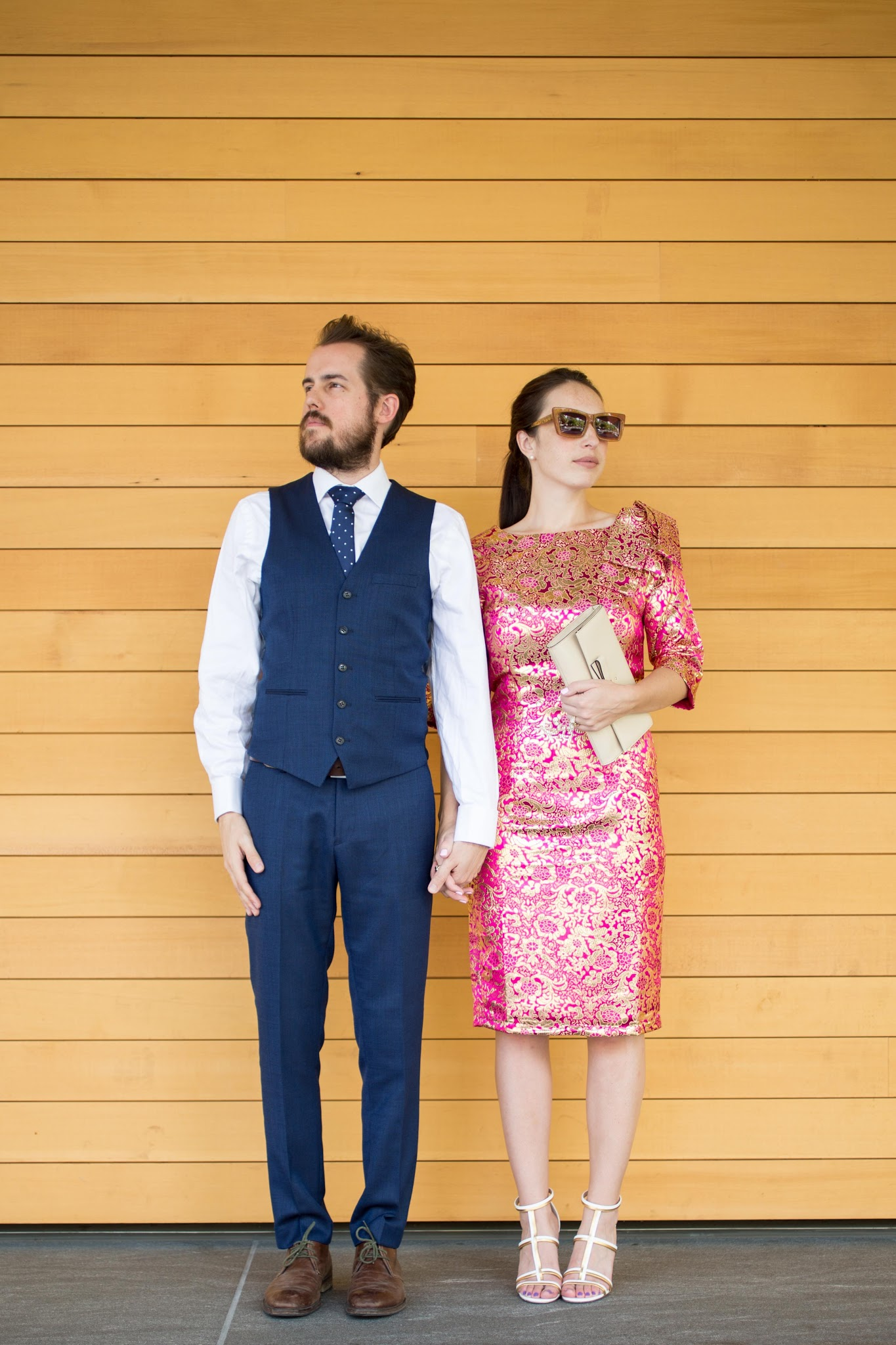 Navy Suit and a Brocade Dress