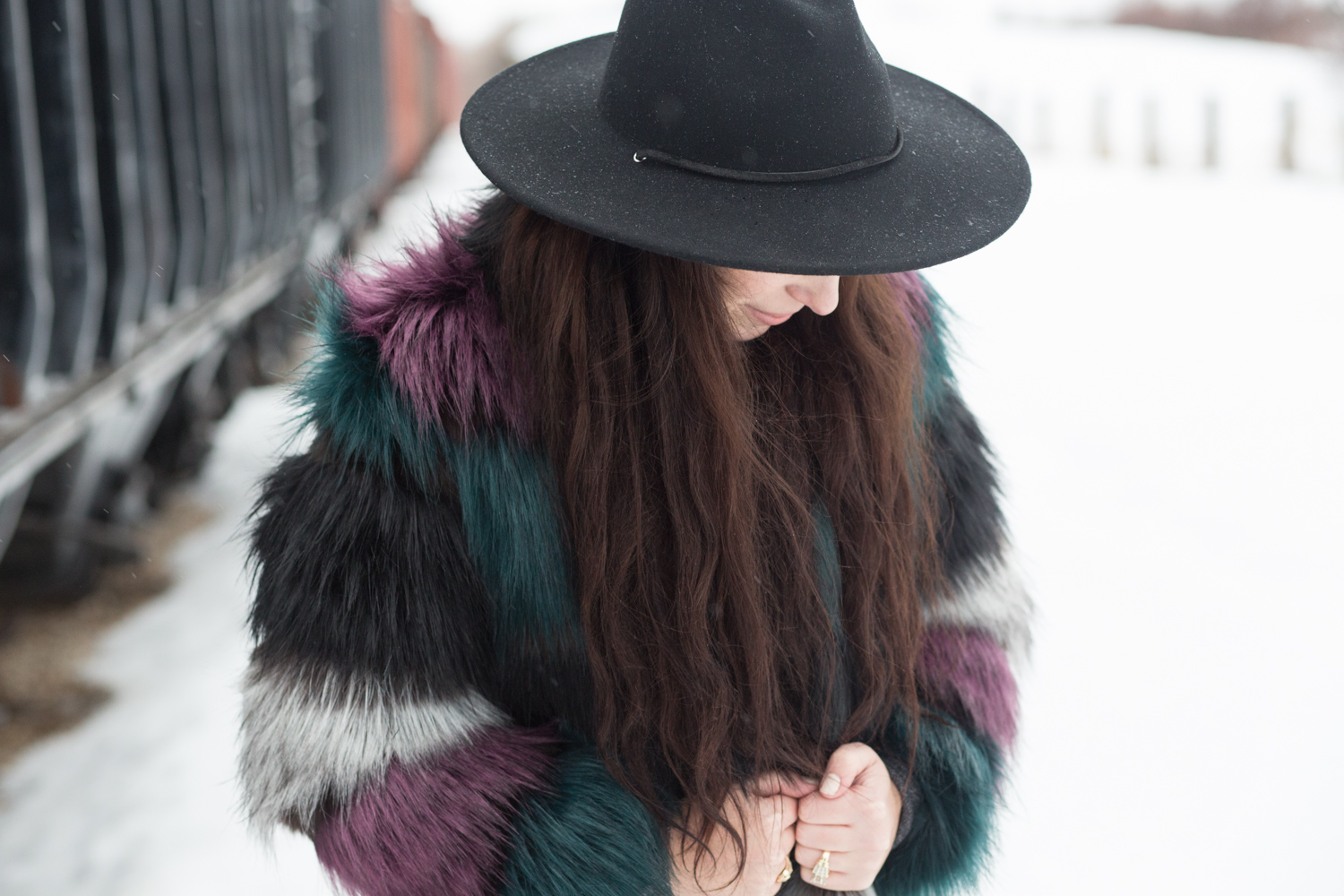 Asos Faux Fur Colorful Coat