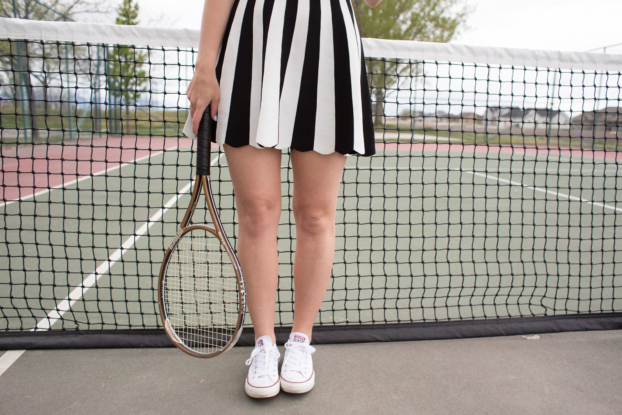 kling black and white tennis dress