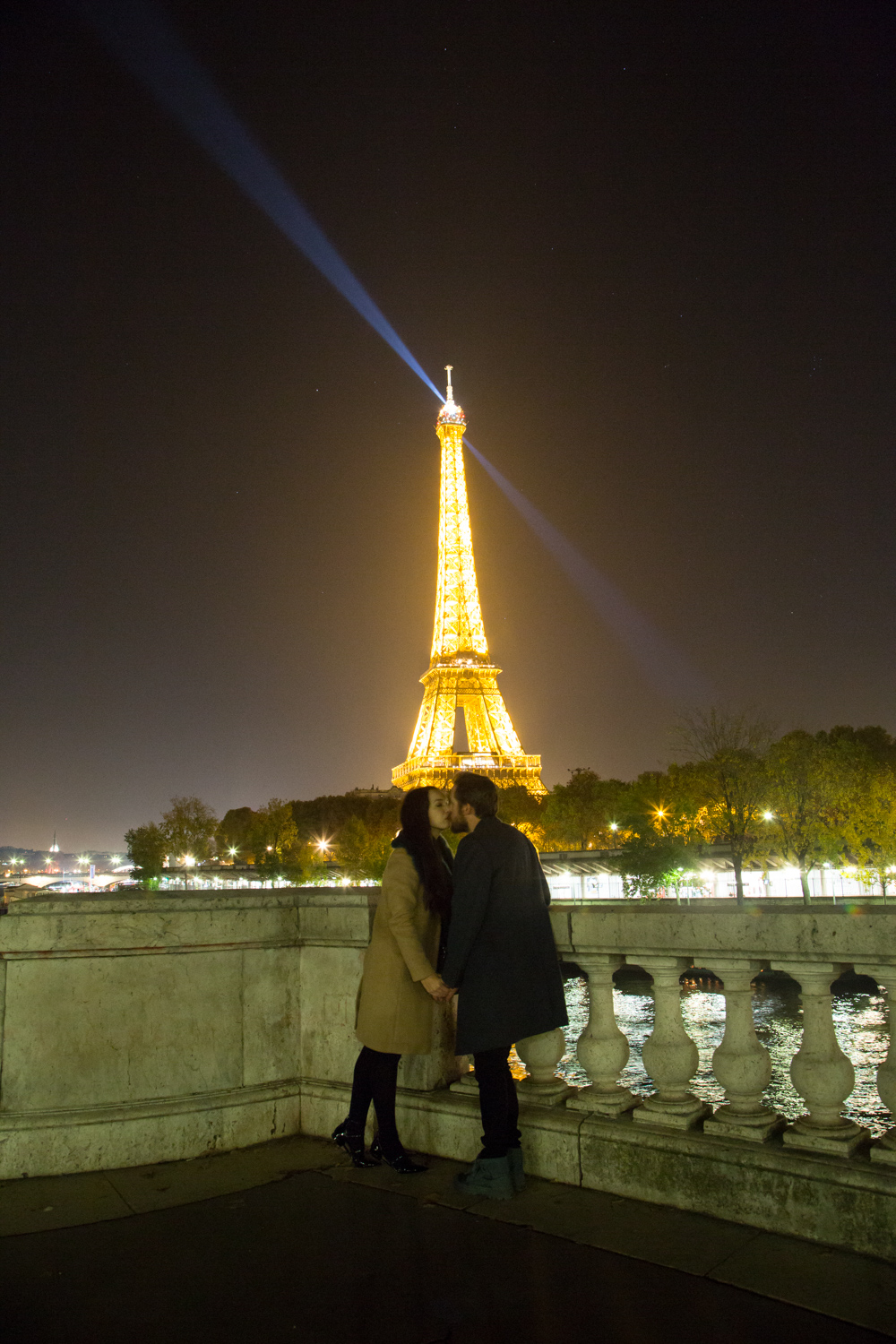 Eiffel Tower Kiss at Night Time